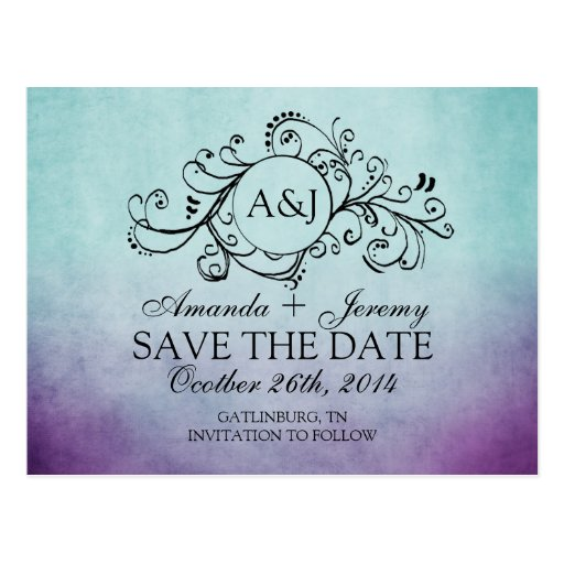 Rustic Teal and Purple Bohemian Save The Date Post Card