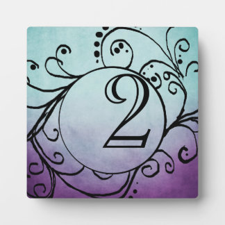Rustic Teal and Purple Bohemian Table Number Plaque
