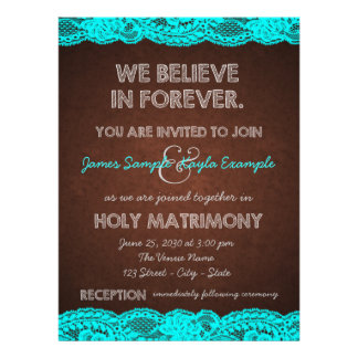 Rustic Teal Blue and Brown Country Wedding Custom Invites