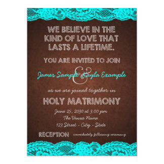 Rustic Teal Blue and Brown Country Wedding Announcement