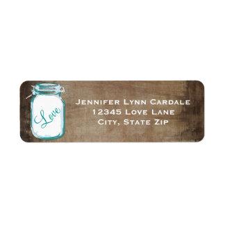 Rustic Teal Brown Mason Jar Wedding Address Label