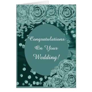Rustic Teal Country Congratulations Wedding Card
