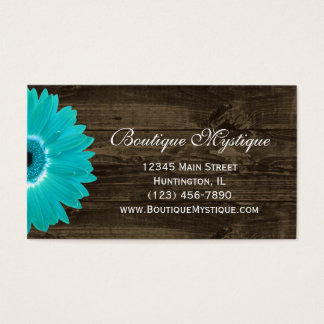 Rustic Teal Gerber Daisy Business Cards