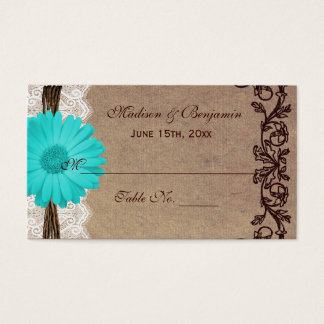 Rustic Teal Gerber Daisy Wedding Place Cards