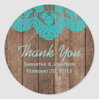 Rustic Teal Lace and Wood Wedding Thank You Classic Round Sticker