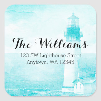 Rustic Teal Lighthouse Address Label