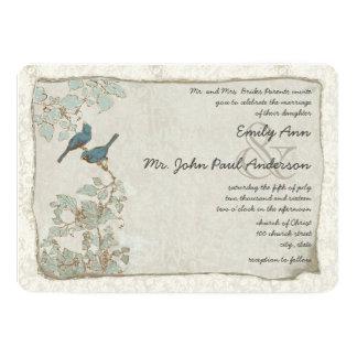 "Rustic Teal Love Bird Damask Wedding Invitations 5"" X 7"" Invitation Card"