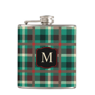 Rustic Teal Plaid Pattern with Monogram Hip Flask