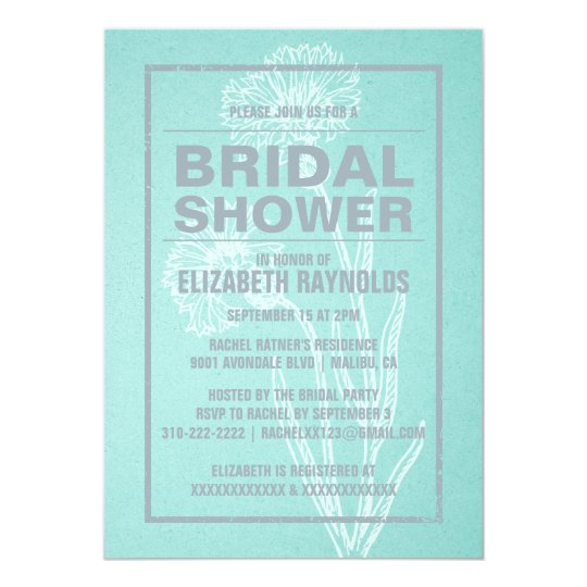 Rustic Teal & Silver Bridal Shower Invitations