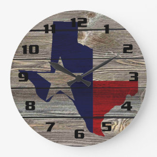 Rustic Texas on Authentic looking wood Large Clock
