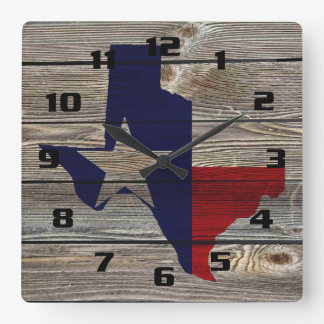 Rustic Texas on Authentic looking wood Square Wall Clock