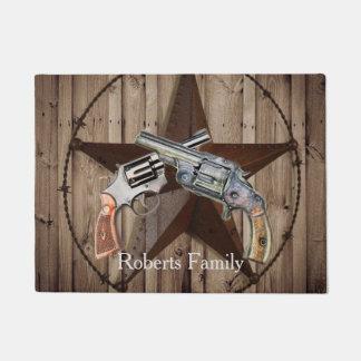rustic texas star cowboy pistols western country doormat