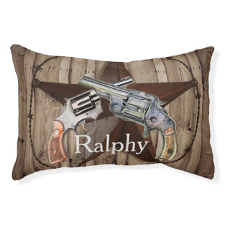rustic texas star cowboy pistols western country pet bed