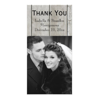 Rustic Thank You Card Time to Drink Champagne Personalized Photo Card