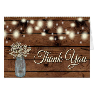 Rustic Thank You, Mason Jar, Floral Thank You Card