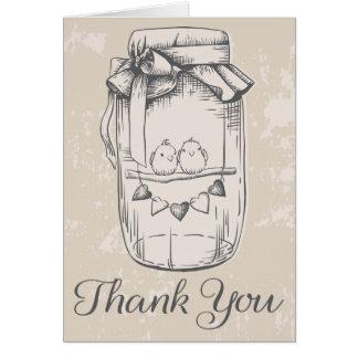 Rustic Thank You Mason Jar Lovebirds Tan Wedding Card