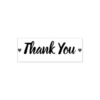 Rustic Thank You Retro Hearts Self-inking Stamp
