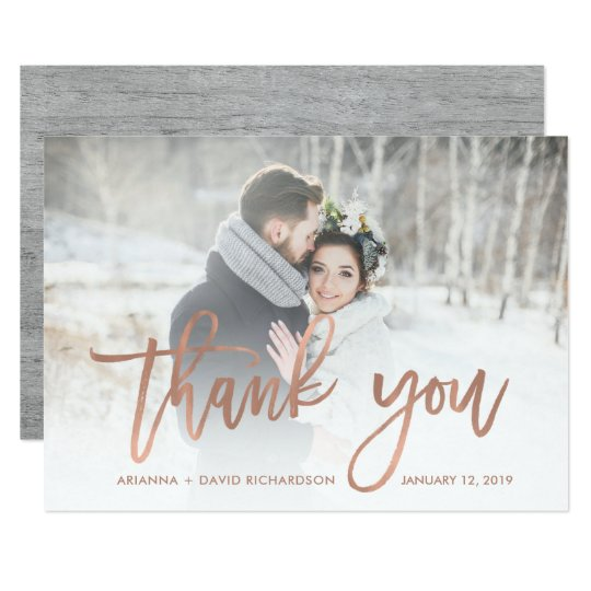 Rustic Thanks | Faux Rose Gold Wedding Photo Card