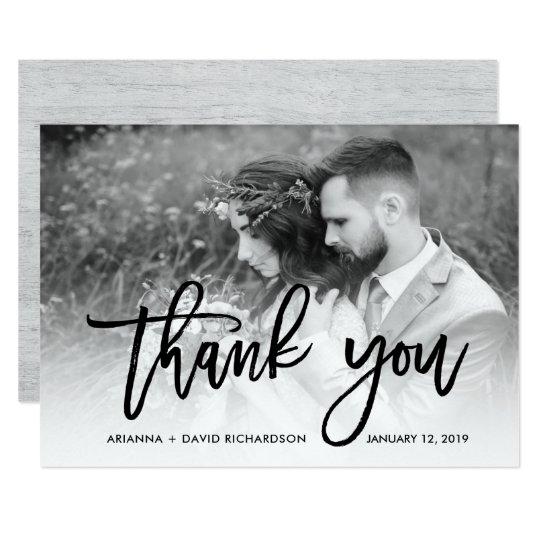 Rustic Thanks   Grey Wood Look Wedding Photo Card