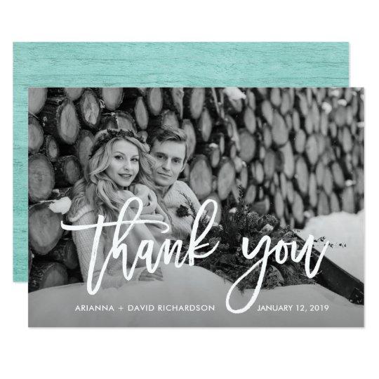 Rustic Thanks | Mint Wood Look Wedding Photo Card