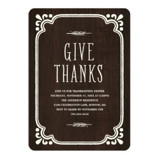 Rustic Thanks   Thanksgiving Dinner Invitation