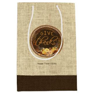 Rustic Thanksgiving GIVE THANKS Three-Tone Burlap Medium Gift Bag