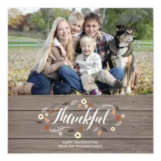 Rustic Thanksgiving Photo Card 13 Cm X 13 Cm Square Invitation Card