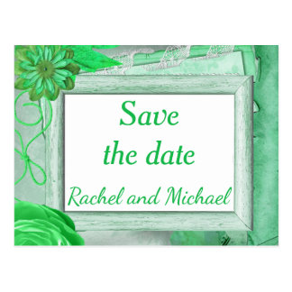 Rustic Theme Green Save the Date Postcard