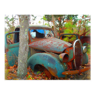 Rustic Thirties Junk Yard Pick Up Truck Post Cards