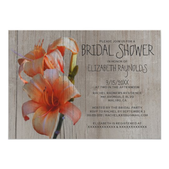 Rustic Tiger Lilies Bridal Shower Invitations