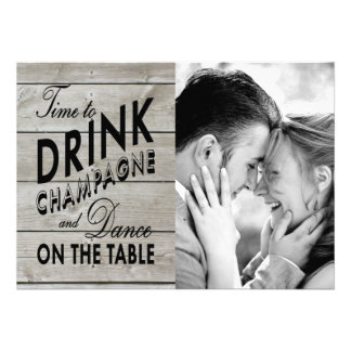 Rustic Time to Drink Champagne Holiday Photo Card