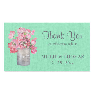 Rustic Tin Can Floral on Mint Green Burlap Wedding Pack Of Standard Business Cards