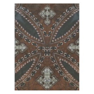 rustic tooled leather pattern western country tablecloth