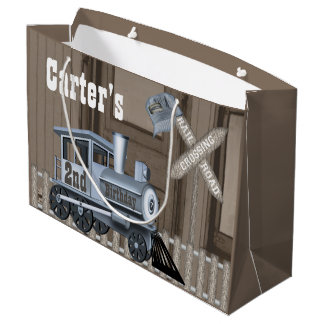 Rustic Train Railroad Crossing 2nd Birthday Party Large Gift Bag
