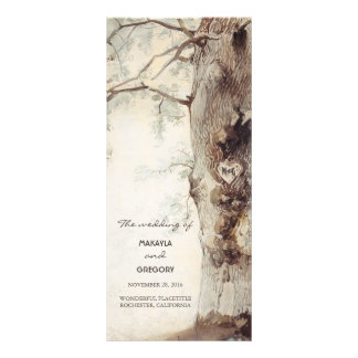rustic tree and carved heart wedding programs rack card