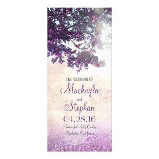 Rustic tree and love birds purple wedding programs rack card design