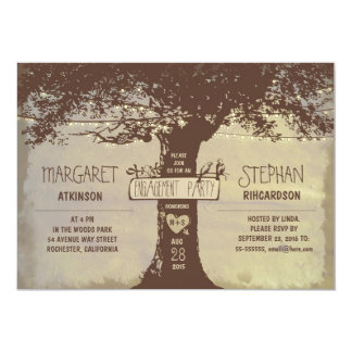 rustic tree and string lights engagement party card