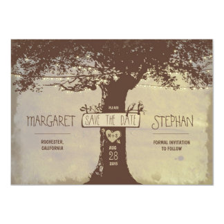 rustic tree and string lights save the date card 11 cm x 16 cm invitation card