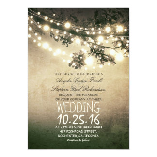 Rustic Tree Branches and Lights Vintage Wedding Card