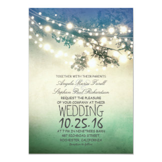 Rustic tree branches & string lights teal wedding card