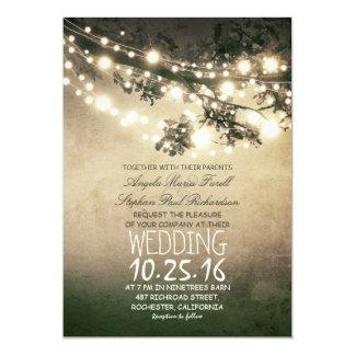 Rustic tree branches & string lights wedding 13 cm x 18 cm invitation card