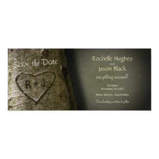 Rustic Tree Carve -- Save the Date 10 Cm X 24 Cm Invitation Card