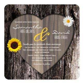 Rustic Tree Heart Sunflower and Daisy Wedding 13 Cm X 13 Cm Square Invitation Card