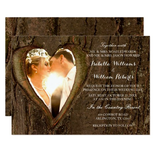 Rustic Tree Heart Wedding Photo Card