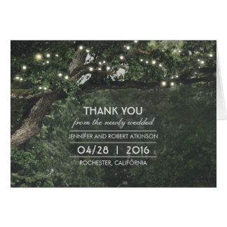 Rustic Tree Lights Wedding Thank You Note Card