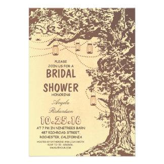 Rustic tree mason jars bridal shower invitations