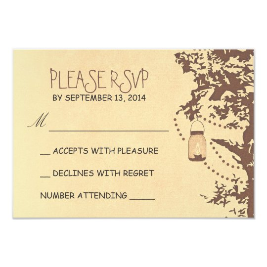 Rustic tree & mason jars wedding rsvp card