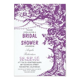 "Rustic tree purple string lights bridal shower 5"" x 7"" invitation card"