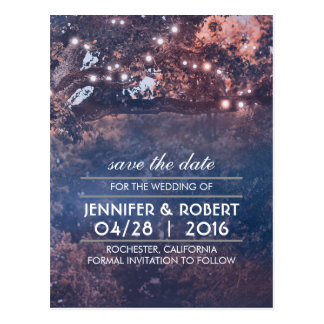 Rustic Tree String Lights Blue Save the Date Postcard