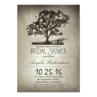 "Rustic tree & string lights bridal shower 5"" x 7"" invitation card"